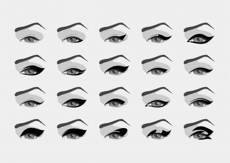 eyeliner: Vector female eyes with various eyeliner  Illustration