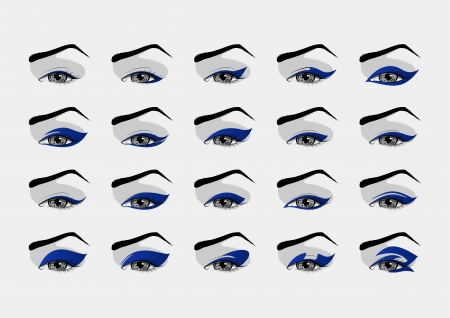 Set of makeup eyeliner designs   Vector
