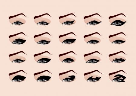 olhos castanhos: Conjunto de moda maquiagem delineador ilustra��o