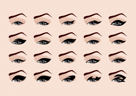 eyebrow makeup: Set di moda trucco eyeliner illustrazione