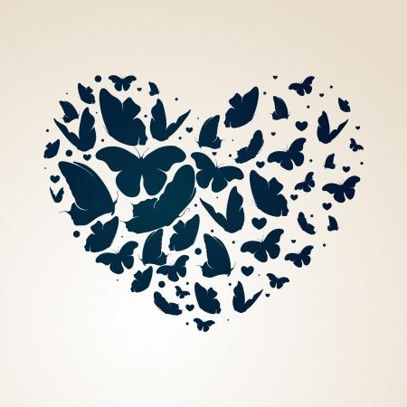 butterfly abstract: coraz�n hecho de las mariposas Vectores