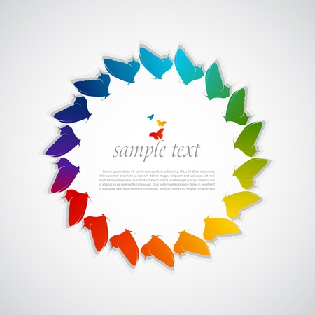 abstract rainbow background with butterflies Stock Vector - 18202226