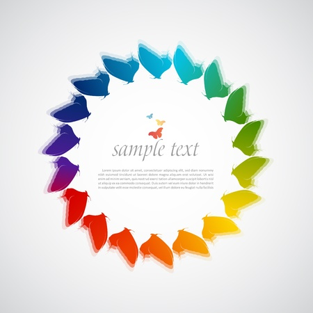 Vector abstract background with rainbow and butterflies  Vector