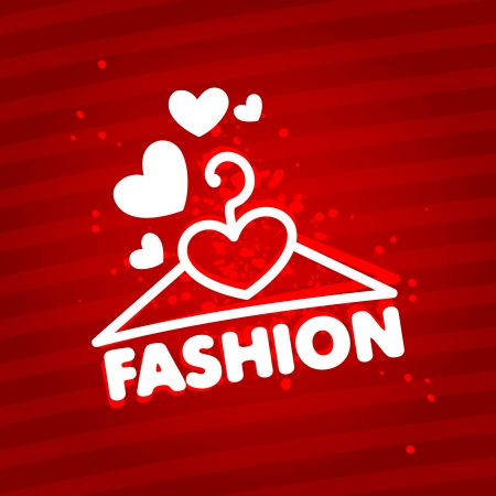 sign store: I love fashion  Design template with a hanger  Illustration