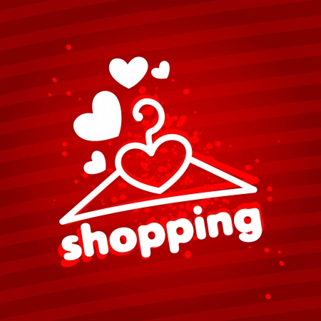 I love shopping  Design template with a hanger  Stock Vector - 18202186