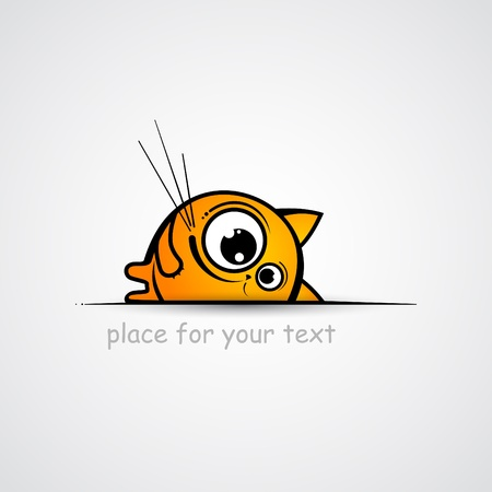 big eye: Funny cat sketch  Place for your text