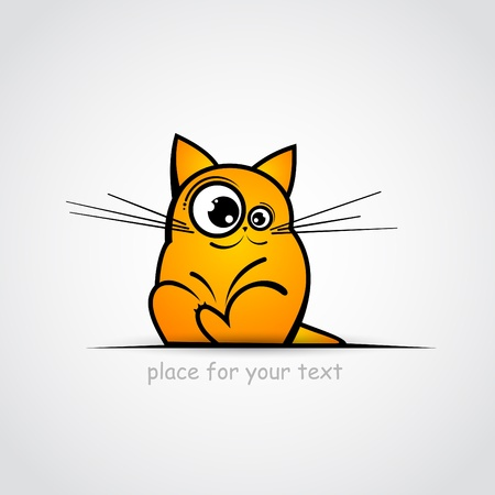 big smile: Funny cat sketch  Place for your text