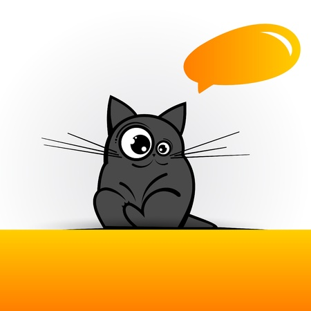 Funny cat with speech bubble  Vector