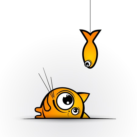 Funny cat and fish  Vector illustration  Vector