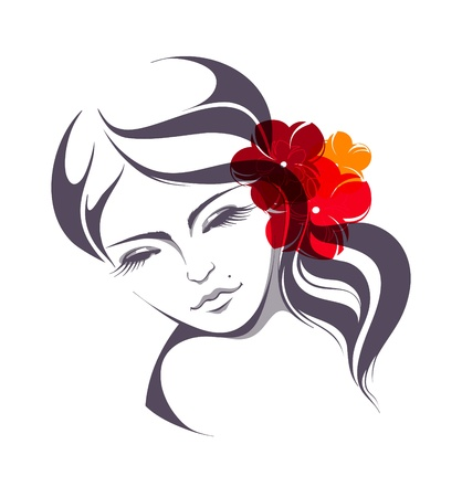 human face: Beautiful girl with flowers in hair  Illustration