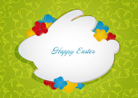 religion  herb: Easter green background with Bunny with place for your text  Vector illustration