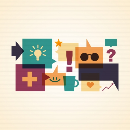 Set of colorful speech bubbles and icons_Creative illustration