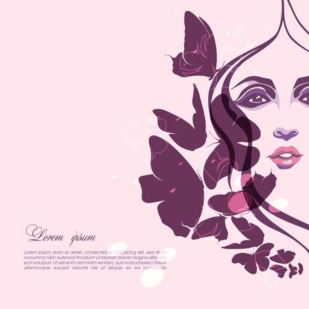 donna farfalla: Ritratto di una ragazza con le farfalle