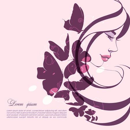 Portret van een meisje met vlinders Stock Illustratie