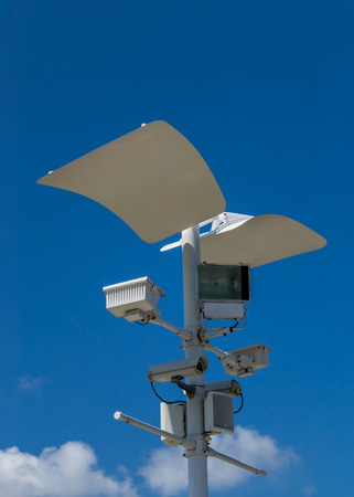 nightvision: CCTV , Speaker and Sport Light with blue sky background Stock Photo