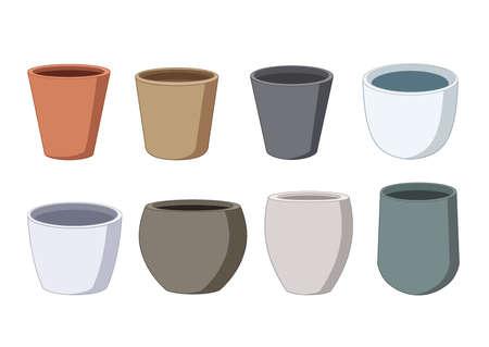 plant pots on white background illustration vector