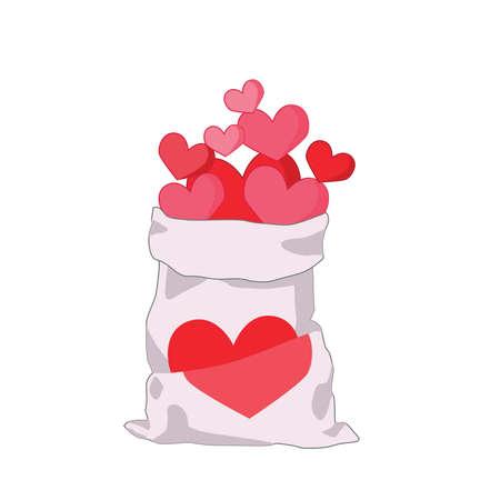 Pink heart bag on white background illustration vector