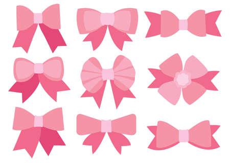 Pink bow design on white background illustration vector