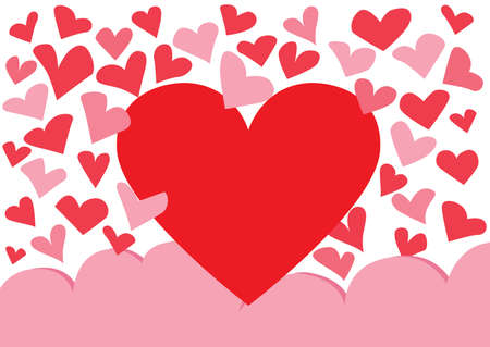 heart red and pink on white background design illustration vector