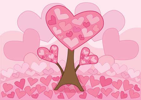 heart tree pink on pink background design illustration vector Ilustrace