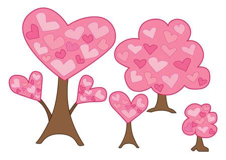 heart tree pink on white background design illustration vector