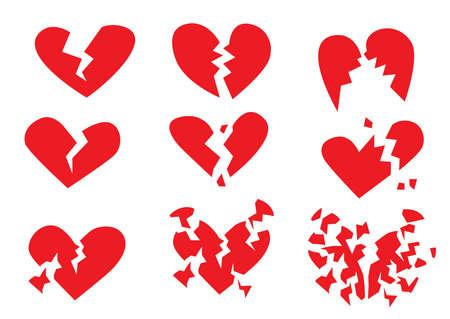 broken heart red on white background design illustration vector