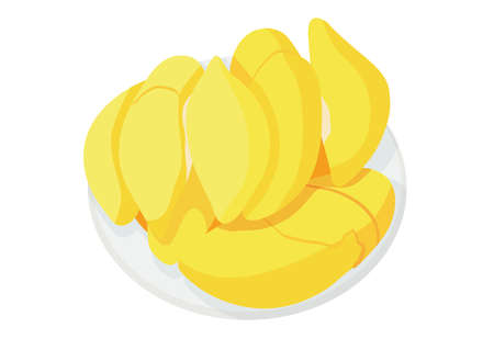 durian fruit in the plate on white background illustration vector Ilustrace