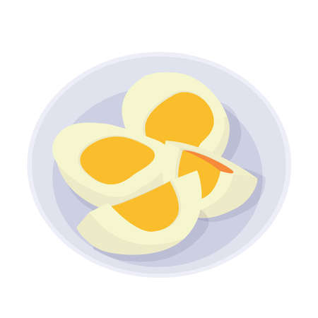 Boiled eggs in a plate on white background illustration vector  イラスト・ベクター素材