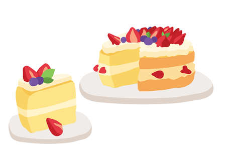 Cake strawberry on gray background illustration vector Ilustração
