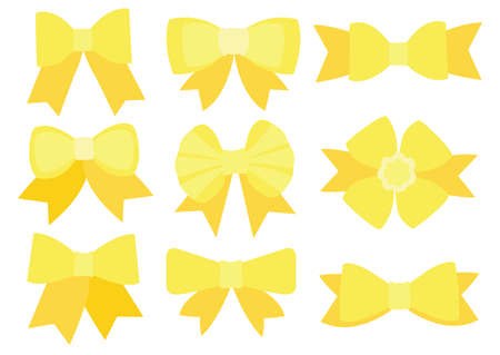 Yellow bow design on white background illustration vector