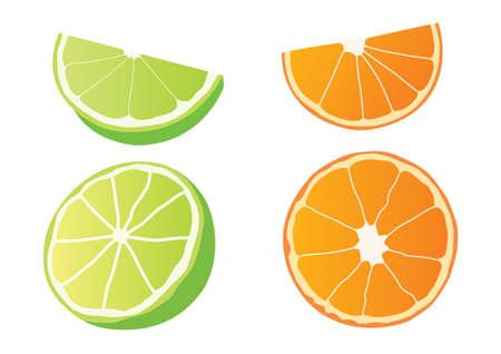 lemon and orange half ball on white background illustration Vector