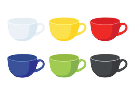 coffee cup Multi color on white background illustration vector Illustration