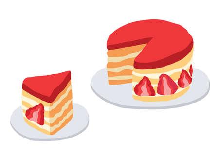 Cake strawberry on white background illustration vector
