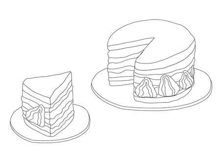 Line Cake Strawberry on white background illustration vector