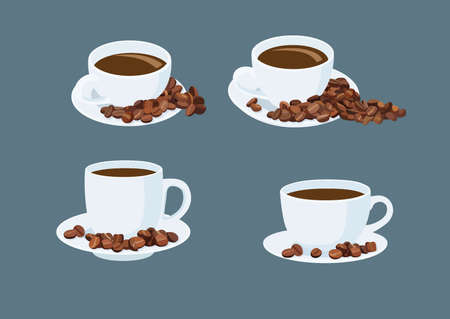 White coffee cups and coffee beans on the saucer on gray background