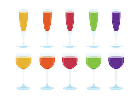 champagne glasses wine and fruit juice isolated on white background illustration vector Healthy drinking water and orange carrot strawberry guava grape fruit juice