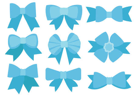 Blue bow design on white background illustration vector
