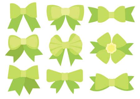 Green bow design on white background illustration vector