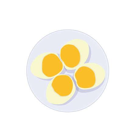 Boiled eggs in a plate on white background illustration vector Illusztráció