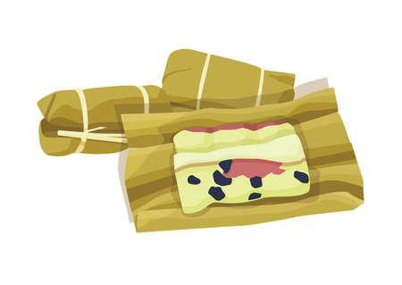 thai dessert rice cake bundle wrapped banana on white background illustration vector