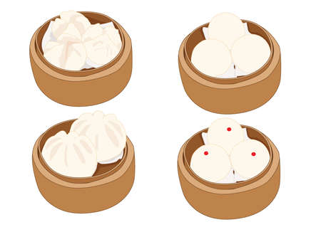 steamed stuff bun,dim sum in bamboo steamer and chinese cuisine on white background