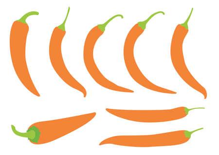Orange chilli pepper on white background illustration vector