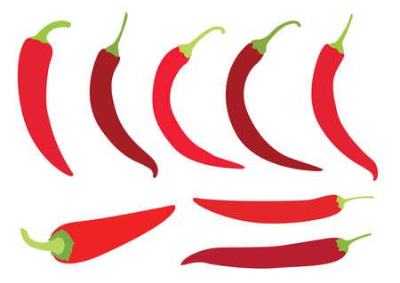 red chilli pepper on white background illustration vector Ilustração