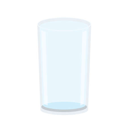 empty glass isolated on white background illustration vector Empty glass drinking clear water
