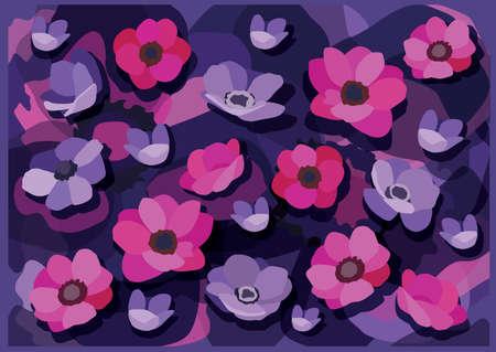 flower pink purple and Purple blue background design illustration vector