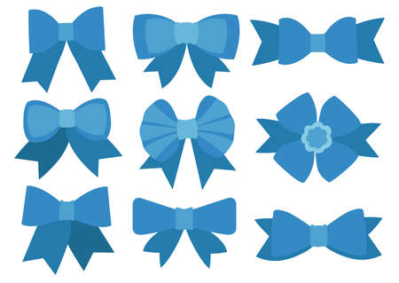 Blue bow design on white background illustration vector.cute blue bow