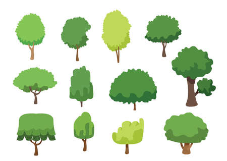 tree set collection isolated on white background illustration vector