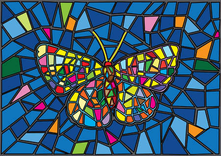 Butterfly Stained glass Mosaic blur background illustration vector Stock Illustratie