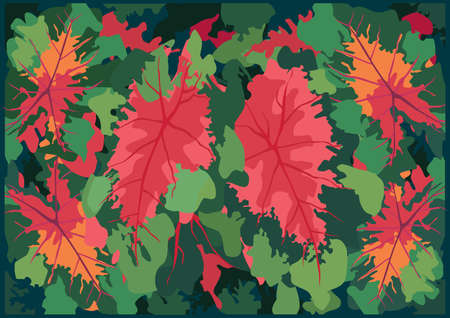 Green red bon Leaves and background design illustration vector