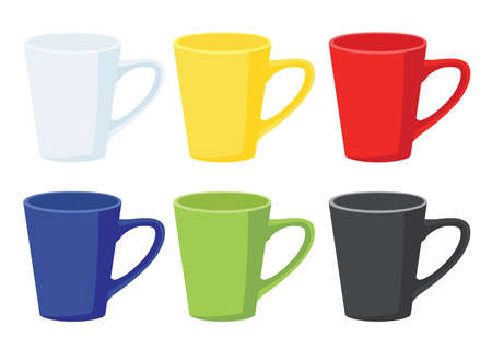 coffee cup multi color on white background illustration vector Vector Illustration